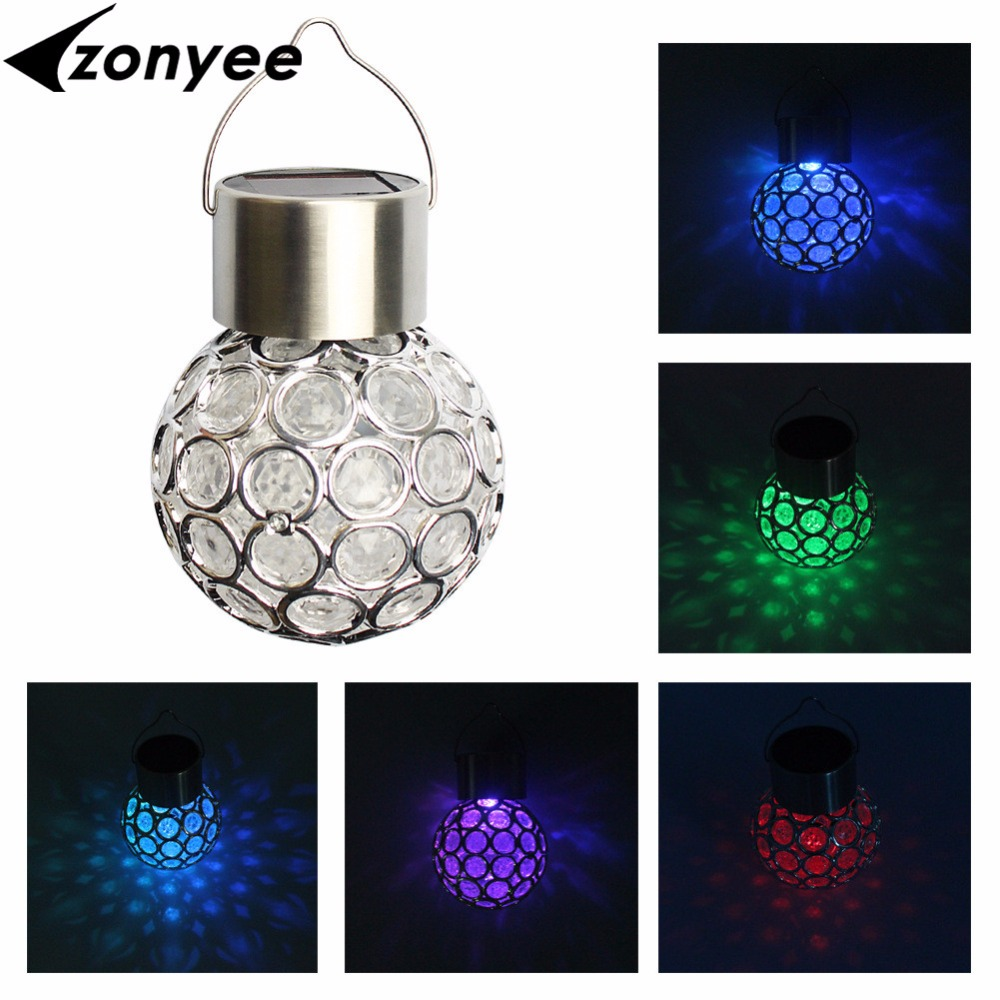 Zonyee Outdoor Solar Hanging Ball Lamp Waterproof Landscape Solar Garden Lantern Ball Lawn Tree Hanging Light Holiday Decora ...
