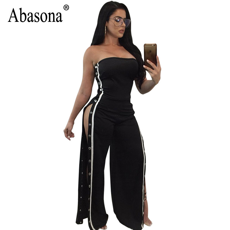 Abasona Off Shoulder Jumpsuits Women Sexy Wide Leg Pants Side