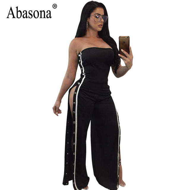 305ab68d0c Abasona Off Shoulder Jumpsuits Women Sexy Wide Leg Pants Side Striped Women  Rompers Jumpsuit Buttons Split Party Club Overalls