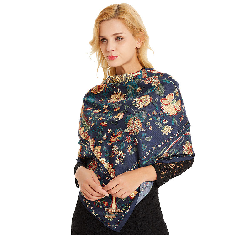 Fashion Women Tranditional Print Soft Twill Scarf Ladies Larger Square Sunscreen 130 CM Shawls And Wrap Muslim Woman Hijab Scarf in Women 39 s Scarves from Apparel Accessories