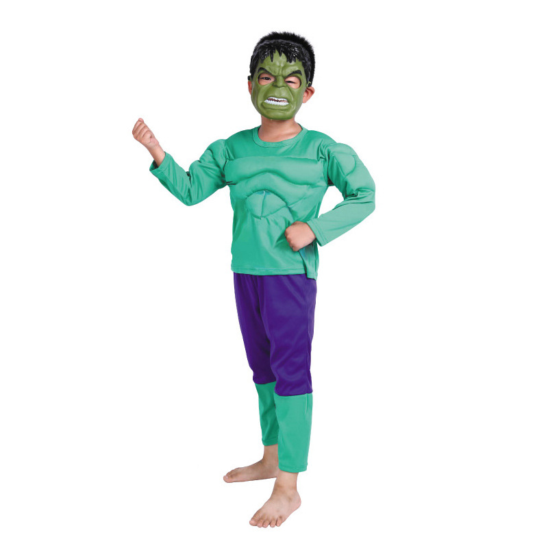 Halloween Party Supplies Clothes Kids Cosplay Muscle Incredible Hulk Costumes With Mask M L XL devil may cry 4 dante cosplay wig halloween party cosplay wigs free shipping