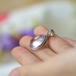 Image 2 - Real 925 Sterling Silver Gemstone Pendants Natural Madagascar Rose Quartz Small Water Drop Elegant Crystal Jewelry For Women