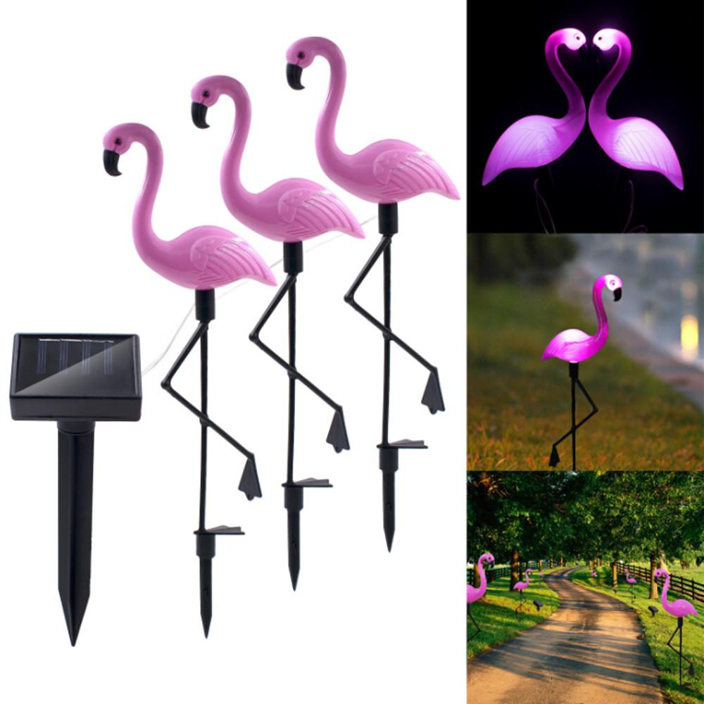 HobbyLane 3Pcs Solar Flamingo Lawn Light Waterproof LED Garden Path Landscape Lights Romantically Decoration Pink