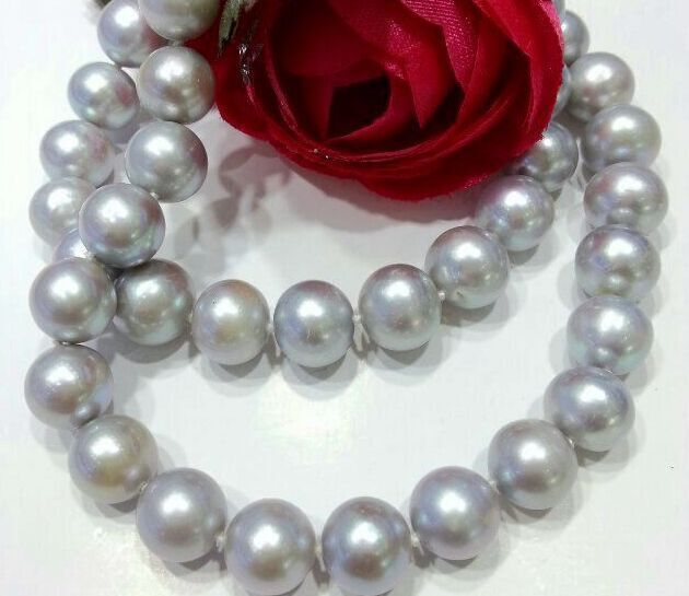 huge 1810-11mm Natural south sea silver gray round Pearl necklace 925 silverhuge 1810-11mm Natural south sea silver gray round Pearl necklace 925 silver