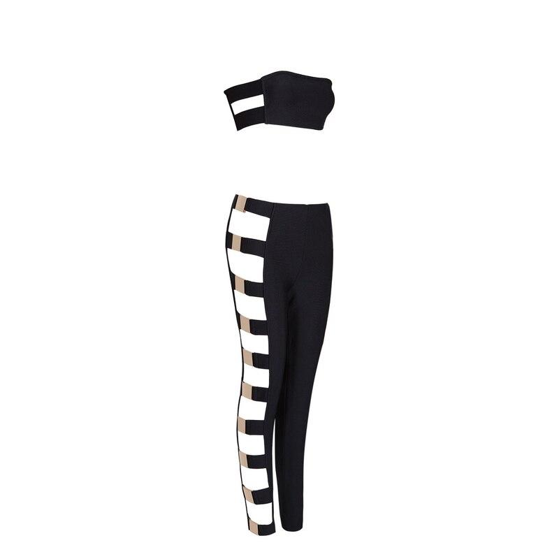 Senza Hl Il Al Ritaglio Fasciatura Spalline Top Nero 2017 Donne Sexy Largo Set Pantaloni Del E Spalla Della Imposta bianco Paillettes T00xUPnq