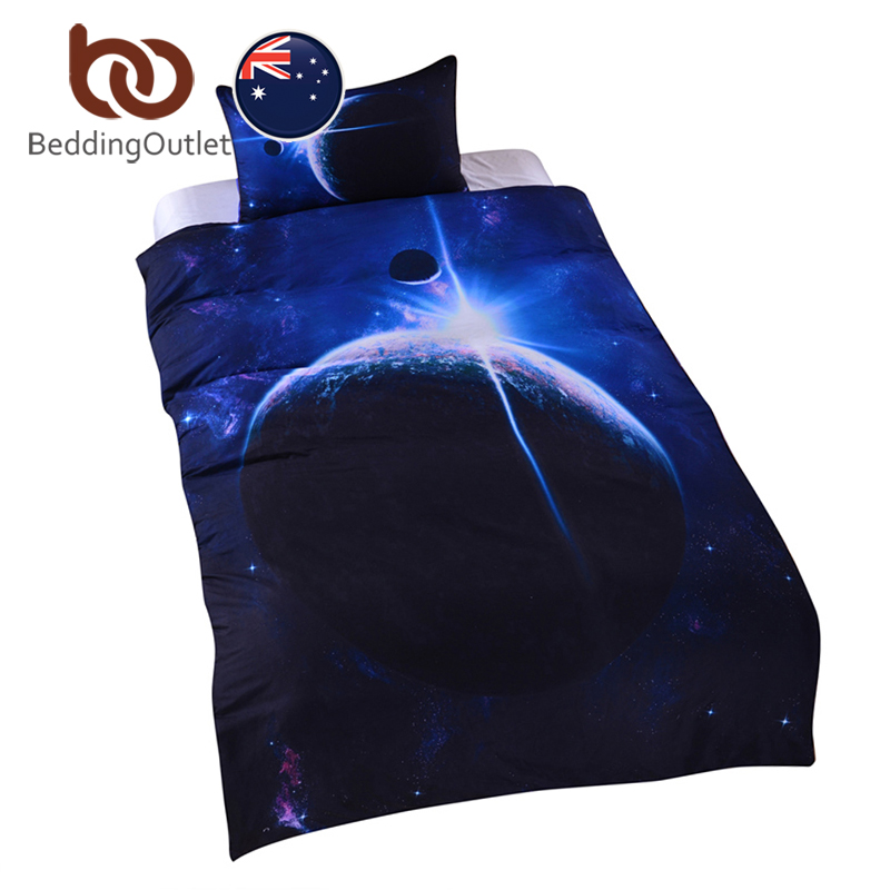 BeddingOutlet Galaxy Bed Set Earth Moon Print Gorgeous Unique Design Quanlity Limited Outer Space Quilt Cover Set AU SIZE