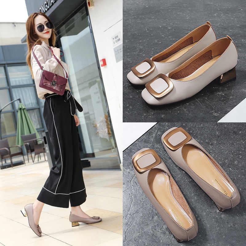 285deaaa8 European Luxury Brand Women High Heels Metal Square Buckle Pumps Leather  Shoes Woman Gold Heels Grandma