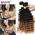 8A Mink Brasileira Curly Virgem Cabelo 3 Bundles Profunda Curly Brasileiro Extensões de cabelo Ombre Onda Profunda Tecer Cabelo Humano 1b 4 27 30