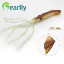 3pcs/set 22cm/9inch length brown/luminous sea fishing soft big squid octopus bait lure inchiku jigging pesca calamar