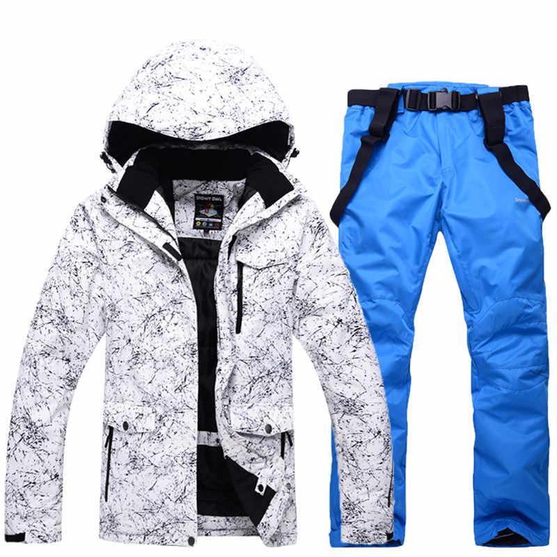 2019 新男性と女性の防水スキースーツ山スキースーツ厚み暖かいスキースノージャケット + スノーボードパンツスキーセット