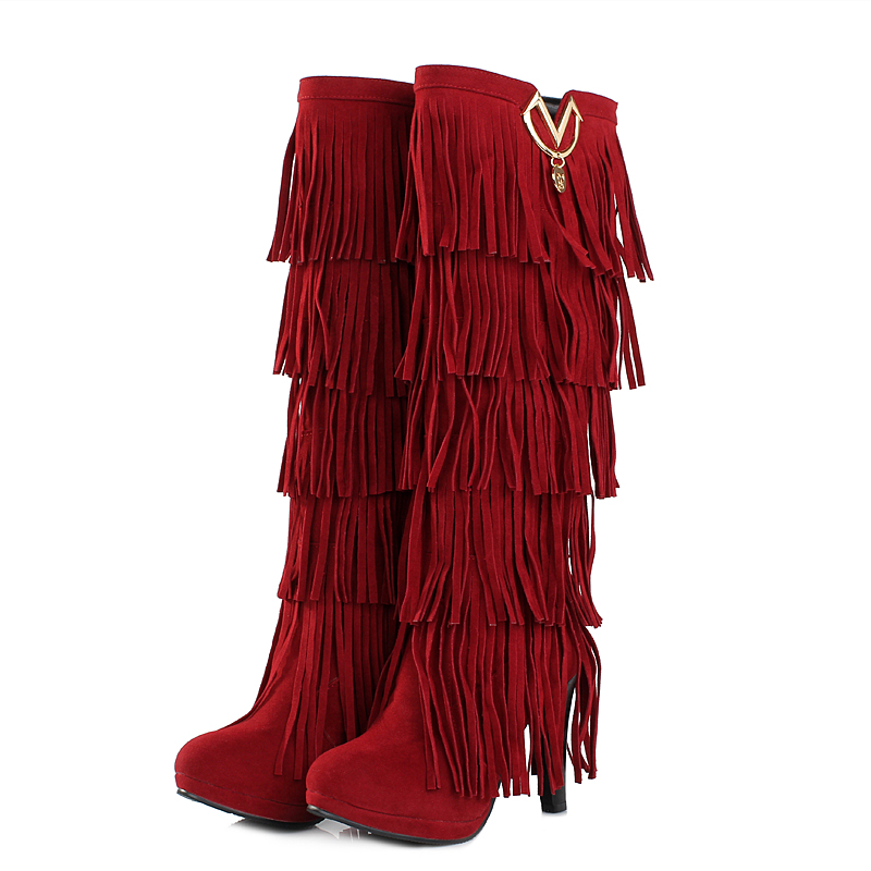 New Sexy Sales Winter Women Knee High Fringe Boots Black Red Brown Yellow Lady Fashion Tassel Heel Shoes AY307 Plus Big Size 43 hualing rscw 298 wet dry lady shaver red brown