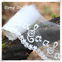 Dongcai Mesh Embroidery Lace Ribbon DIY Fabric Lace White Sweet Cordate Lace Trim DIY Craft Materials Clothing Accessories Lace