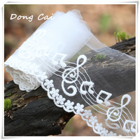 5 10Yards Width 11cm White Cotton Wire Embroidered Lace Fabric DIY Handmade Music Lace Materials Clothing