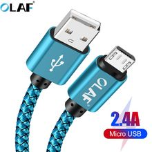 OLAF Micro usb cable 5V 2.4A Braided Quick charger Fast charging data cable for samsung hu