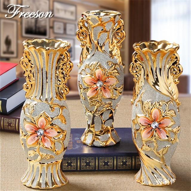 Europe Gold Plated Frost Porcelain Vase Vintage Advanced Ceramic Flower Vase for Room Study Hallway Home Wedding Decoration 2