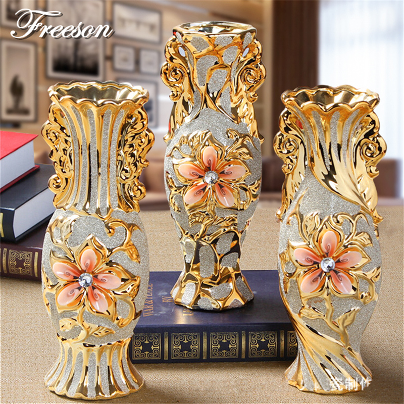 Europe Gold Plated Frost Porcelain Vase Vintage Advanced Ceramic Flower Vase for Study Room Hallway Home Wedding Decoration