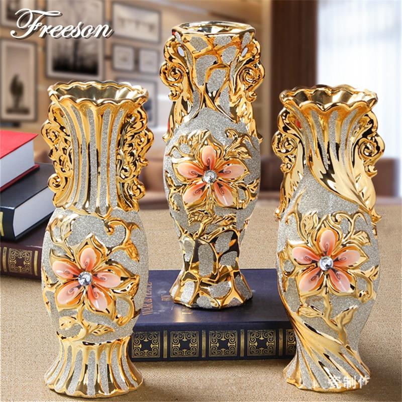 Europe Gold Plated Frost Porcelain Vase Vintage Advanced
