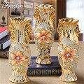 Europe Gold Plated Frost Porcelain Vase Vintage Advanced Ceramic Flower Vase for Room Study Hallway Home Wedding Decoration