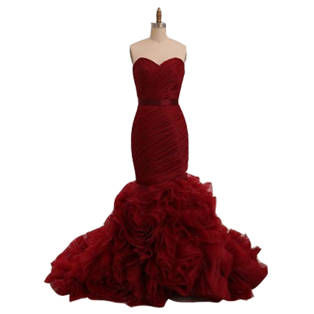 Wine Red Velour Mermaid   Prom     Dresses   Long Formal Evening Gown Sweetheart Organza Ruffles Zipper Back Women   Dress