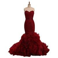 Wino Czerwone Welur Mermaid Prom Dresses Długi Formalna Suknia Wieczorowa Sweetheart Organza Ruffles Zipper Powrót Kobiety Sukienka