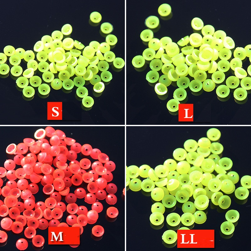 100pcs/lot Luminous Beads Space Beans Round Float Fishing Tackle Lure Beans Round Float Stopper Balls Lure Fishing Accessories