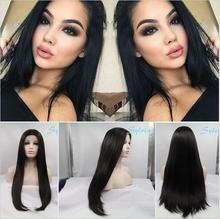 Hot Sales Fashion Kylie Jenner Natural Black Hair Long Silky Straight Wig Synthetic Lace Front  Wigs For Black Women In Stock