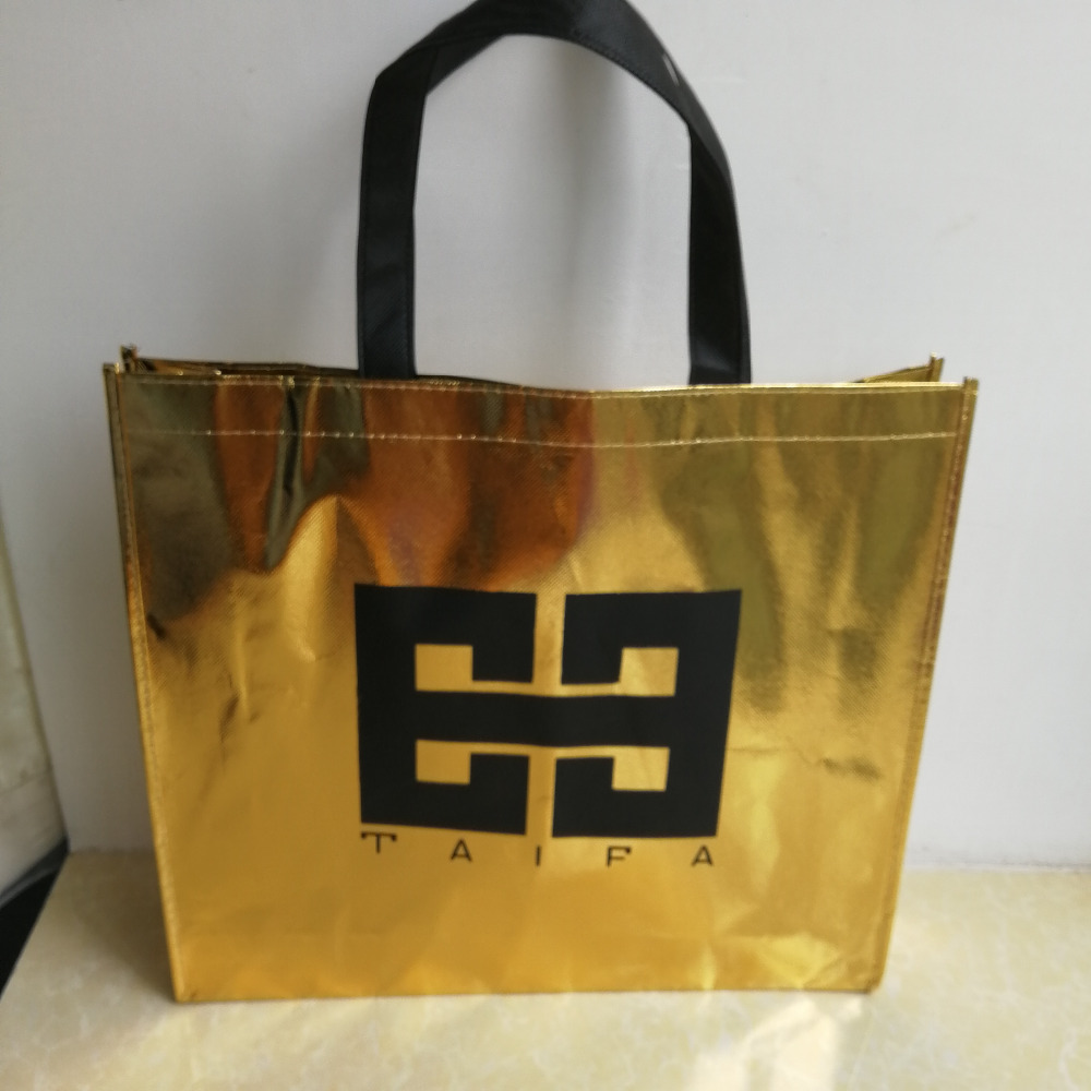 Wholesale 500pcs/lot Custom High Quality Metallic Non Woven Shopping Bags Recycled Eco Tote Bags for Show Your Brand