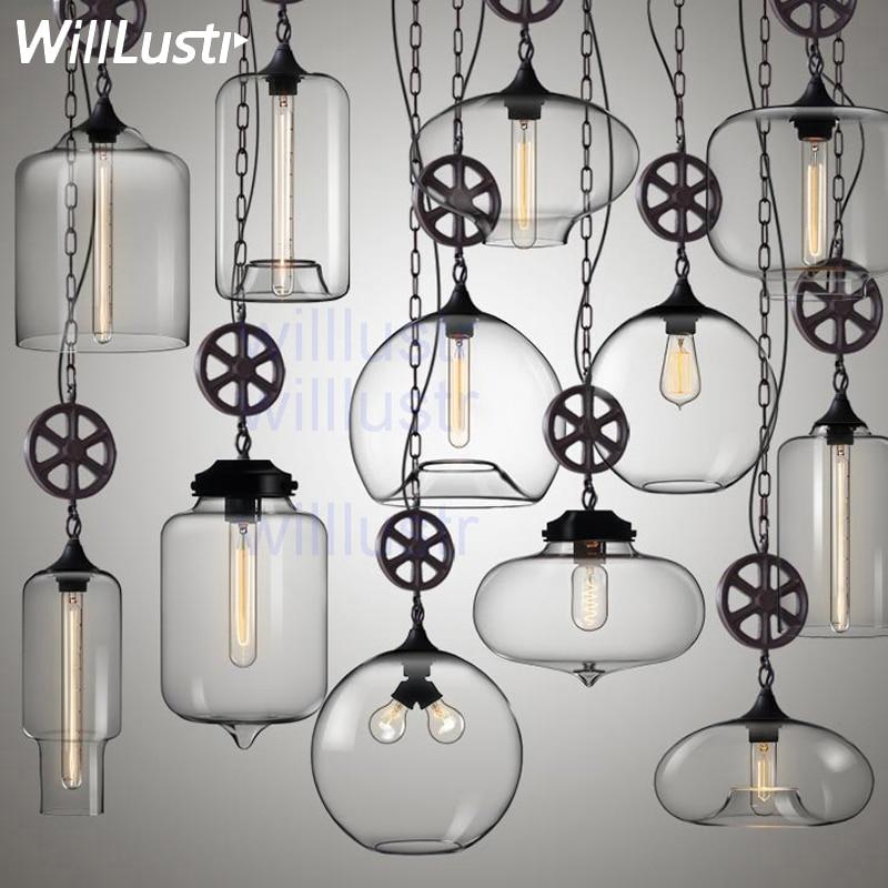 Modern Glass Pendant Lamp Clear Transparent Glass Wheel Industry Design Home Dinning Room Restaurant Hotel Loft Suspension Light