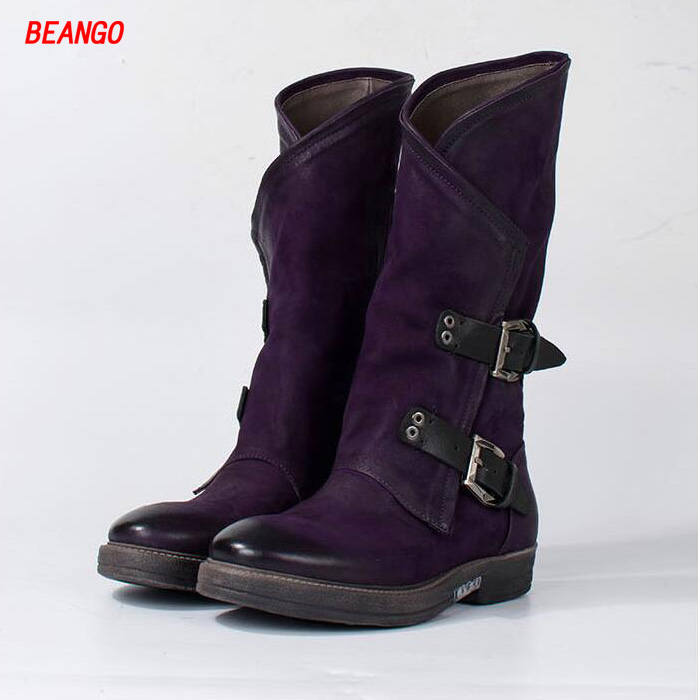 BEANGO Winter New Genuine Leather Women Low Heel Knight Boots Do Old Metal Buckle Side Zipper Mid-Calf Cool Women Punk Boots double buckle cross straps mid calf boots
