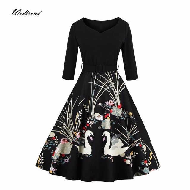 a65109dac7e7 Wedtrend 1950s Women Autumn 2017 Vintage Retro Dress Rockabilly Black Print Dresses  Full Swing Ball Gown Feminino Vestido Sashes