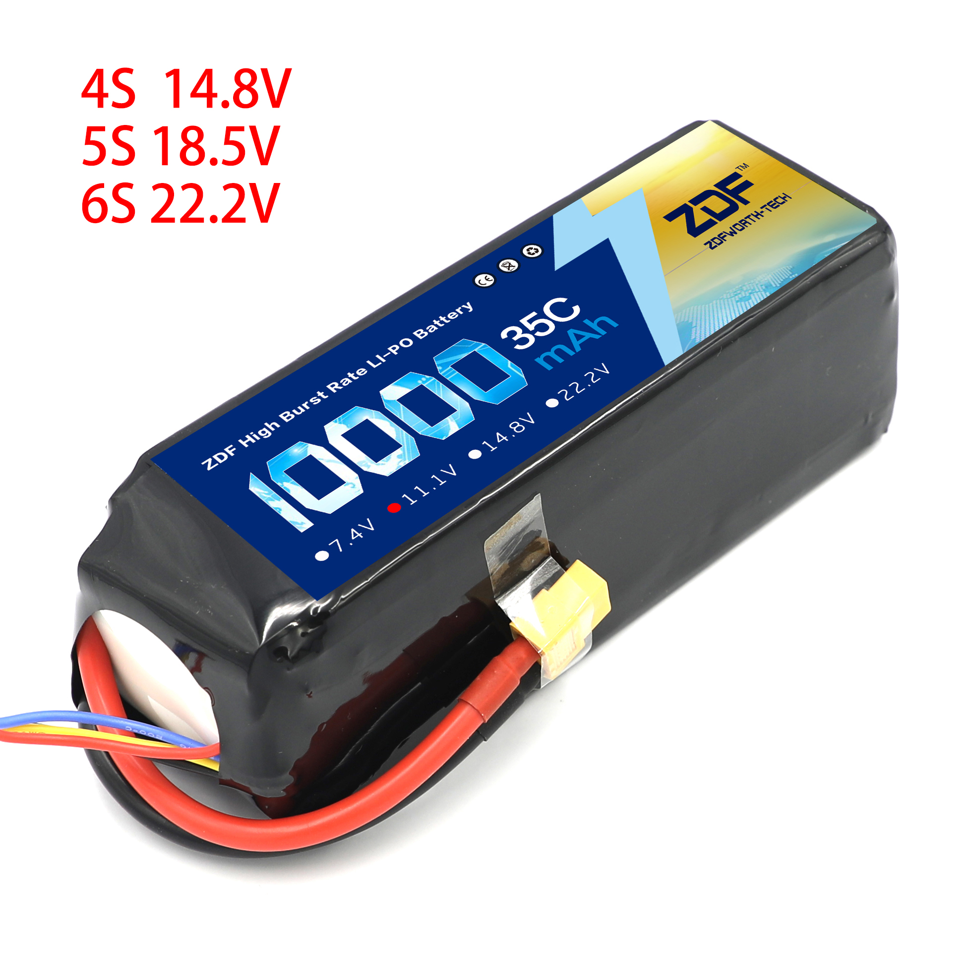 ZDF 4S 5S 6S 14.8V 18.5V 22.2V 10000mAh 35C MAX 70C RC Lipo Battery For RC Helicopter Airplane Drone racing 1:5 1:8 car image