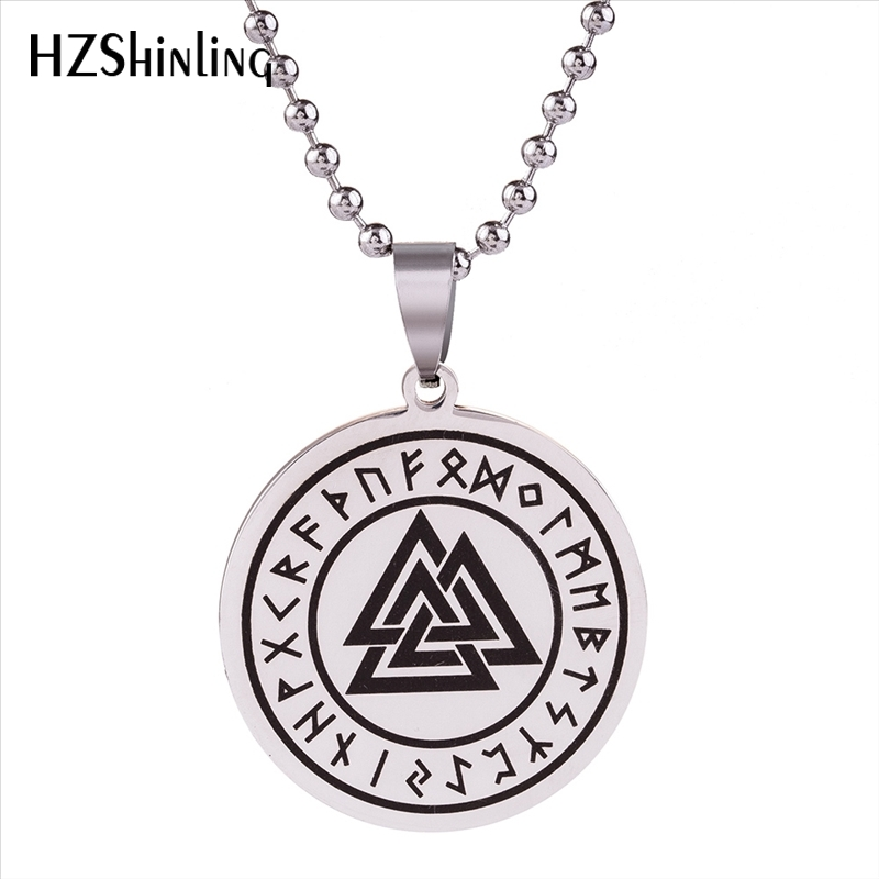 2018 New Stainless Steel Triple Horns Of Odin Pendant Necklace Valknut Viking Pendants Silver Jewelry Round Fashion Chain HZ7