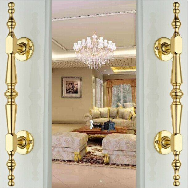 300mm unfold install modern fashion deluxe gold big gate wood door handles gold zinc alloy Hotel home office wood door pulls