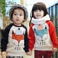 2017 fox baby дети одежда Кофты малыша детские детская одежда осень зима руно капюшоном мальчики девочки ткань с начесом