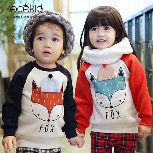 2017 raposa do bebê roupa dos miúdos Camisolas roupa das crianças outono inverno casaco com capuz de lã das meninas dos meninos da criança infantil pano com fleece