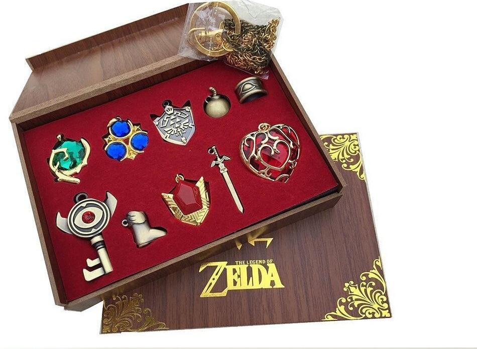 Legend of Zelda Hylian Shield Triforce Necklace keychain Ring 8pcs