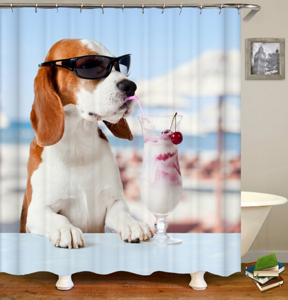 Image 2 - VOZRO Cat and dog pattern shower curtain bath bape douchegordijn pascoa cortina banheiro splatoon miniaturas cthulhu bathroom-in Shower Curtains from Home & Garden