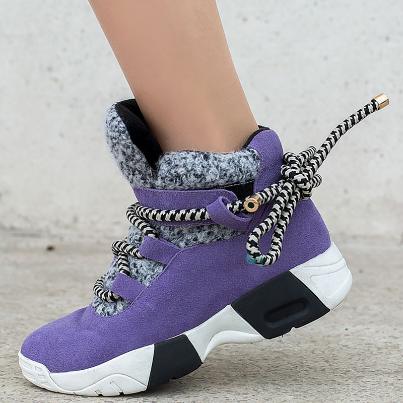 Ladies Trainer Winter Big Size 43 Dropshipping Warm Short Plush Sneakers On The Platform Lace-Up Cow Leather Walking Shoes
