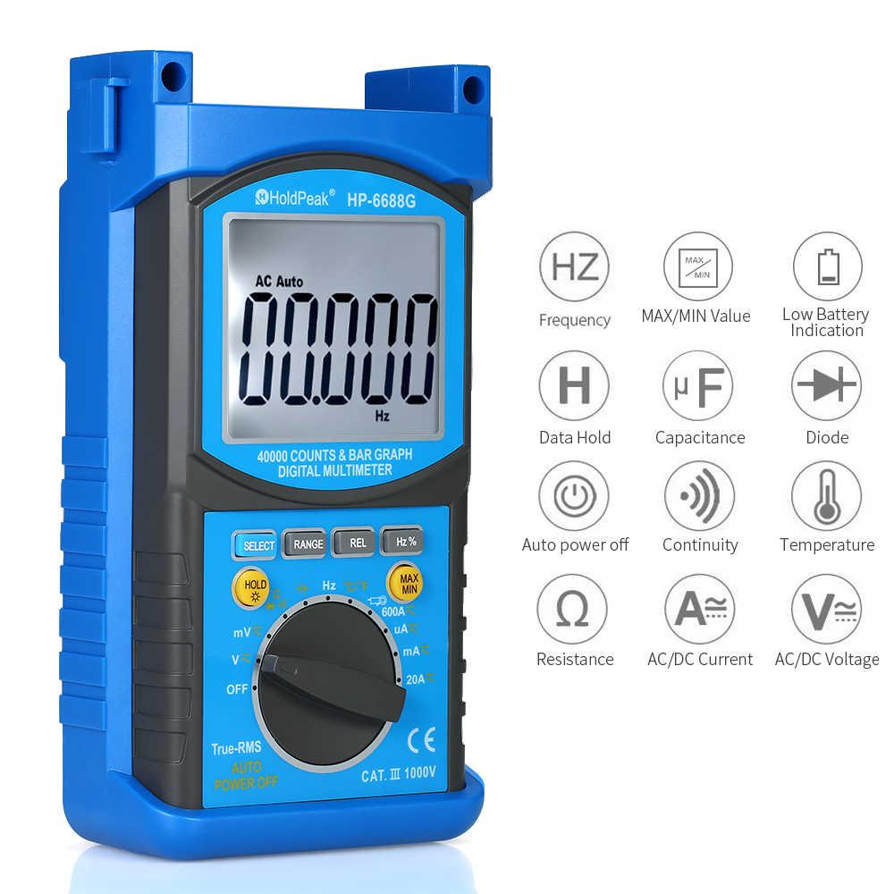 Digital Multimeter Holdpeak Auto-Range True RMS LCD Tester DC/AC Tegangan Current Meter Kapasitansi Perlawanan Pengukur Tegangan Volt Pengukur Amper