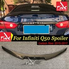 купить For Infiniti Q50 Q50S Rear Trunk Spoiler Wing Carbon Fiber 2015-17 M4-Style Carbon Fiber Rear Trunk Wing Spoiler Lid Q50 spoiler дешево