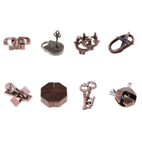 8pcs Chinese Lock Puzzle Metal Brain Teaser IQ Test Toys for Adults Children