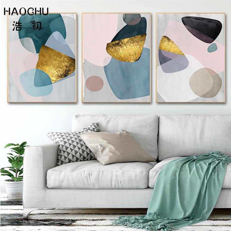 Haochu Nordic Poster Seni Modern Abstrak Cat Air Foil Emas Merah Muda Biru Blok Warna Kanvas Lukisan untuk Ruang Tamu Teras Dekorasi