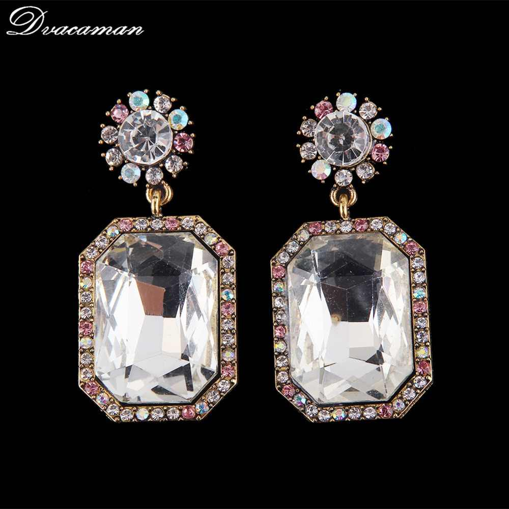 Dvacaman Flower Crystal Square Drop Earrings Women 2019 Trendy Dangle Statement Earrings Wedding Party Accessory Jewelry Bijoux