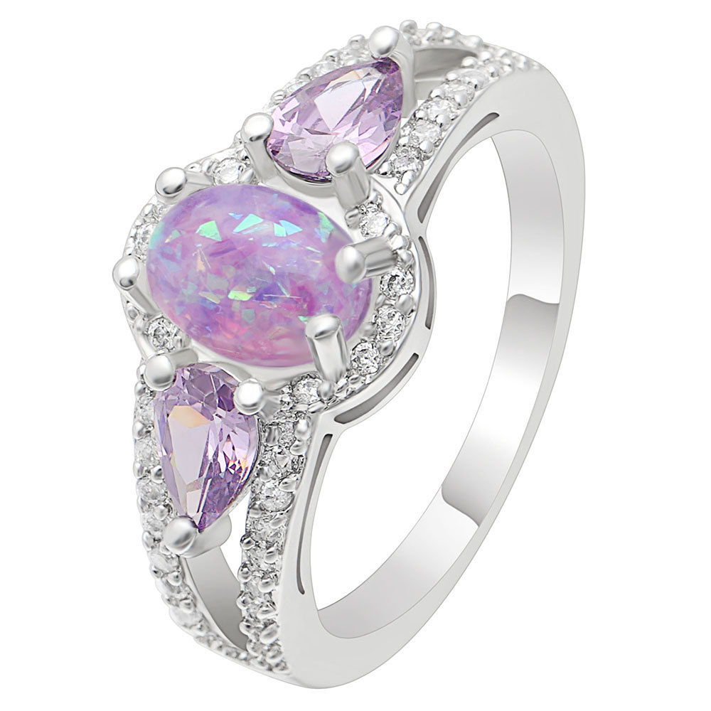 Ufooro Water Drop Shape Purple Zircon Oval Pink Fire Opal Ring Jewelry Wedding Bands Finger For Woman Gift: Drop Oval Wedding Ring At Websimilar.org