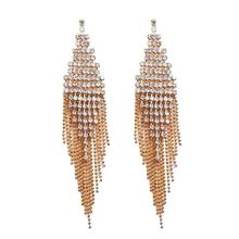 Super Bling Rhinestone Long Chain Tassel Earrings For Women Accessories Fashion Bridal Wedding Dangle Jewelry