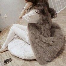 Top Fashion 2016 Women Natural Faux Fur Vest Gilet Sleeveless Jacket Casaual Coat Waistcoat Autumn Winter Outerwear Plus Size