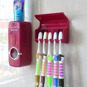 Image 1 - Ucuz banyo otomatik diş macunu dağıtıcı diş macunu sıkacağı duvar macun monte diş fırçası tutucu banyo aksesuarları