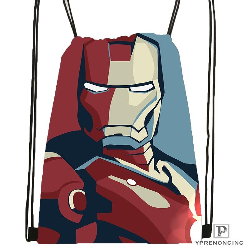 Custom Iron Man Drawstring Backpack Bag For Man Woman Cute Daypack Kids Satchel (Black Back) 31x40cm#180531-01-21