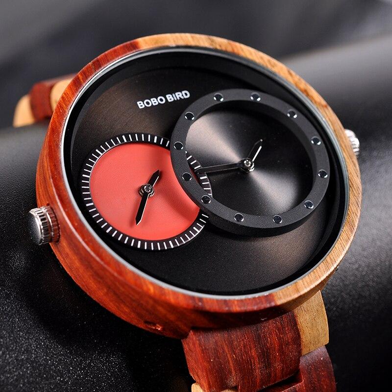 Watch Men 2 Time Zone Wooden Quartz Watches Women Design Men's Gift Wristwatches In Wooden Box W-R10 1