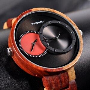 Image 2 - relogio masculino BOBO BIRD Watch Men 2 Time Zone Wooden Quartz Watches Women Design Mens Gift Wristwatch In Wood Box Dropship